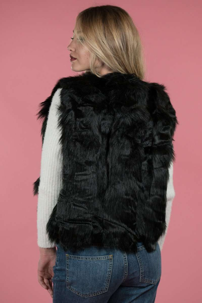 Black Faux Fur Vest,Outerwear