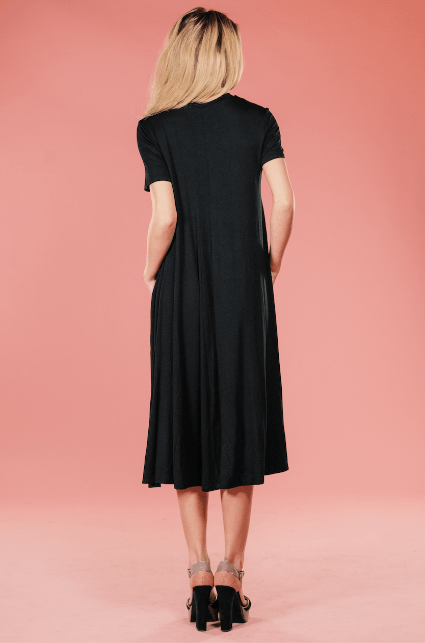 Black Midi Tee Dress,Women - Apparel - Dresses