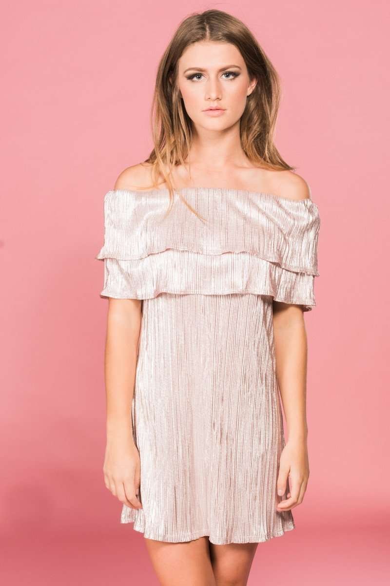 Blush Off The Shoulder Dress,Womem - Apparel - Dresses