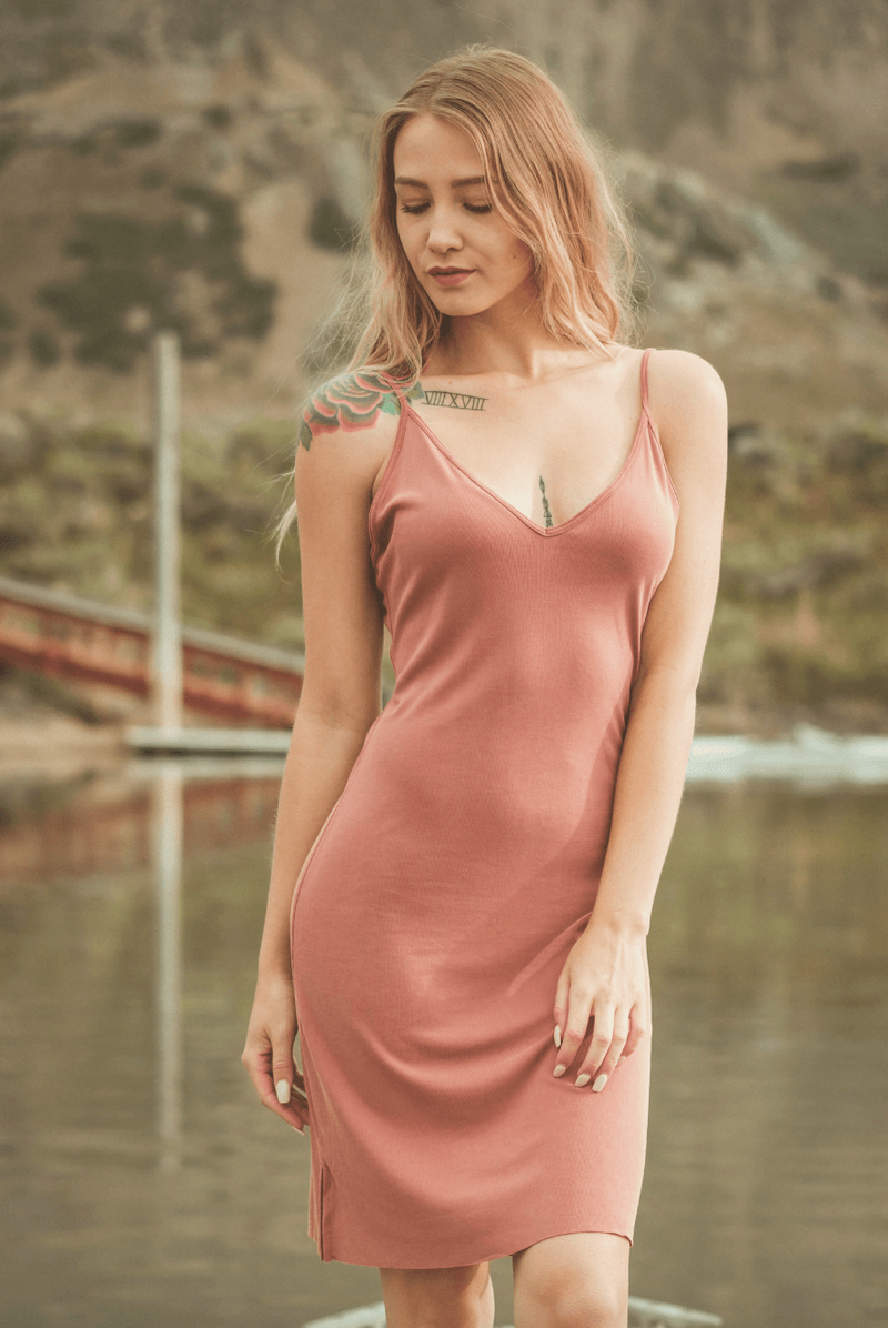 Nude Velvet Shift Dress