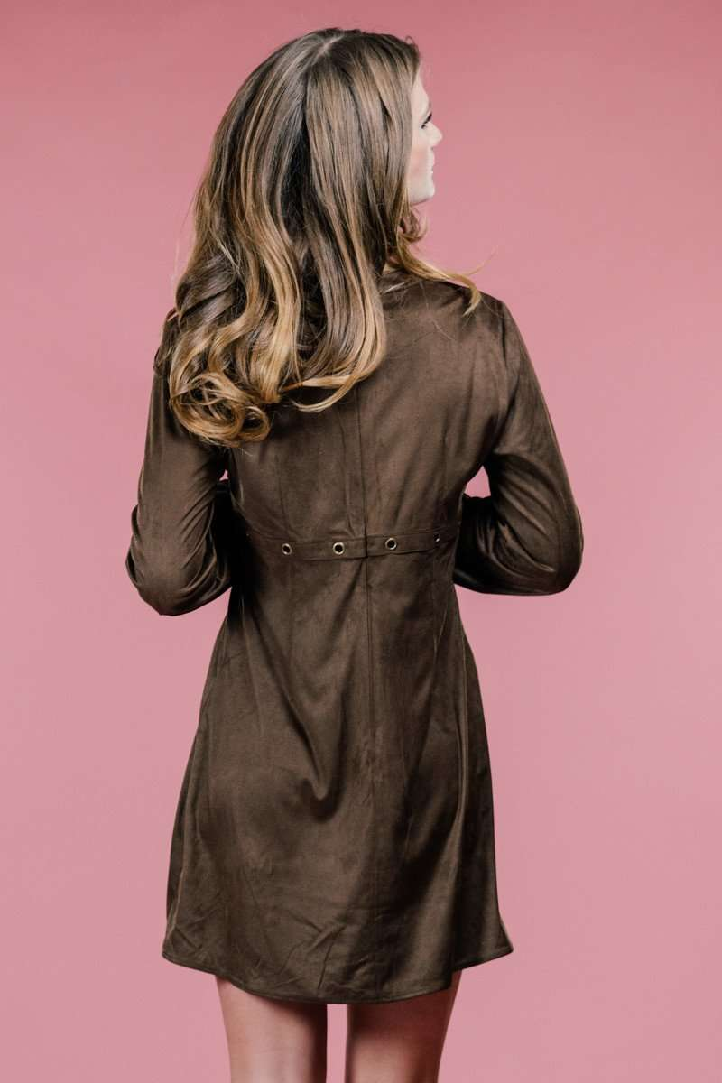 Brown Suede Dress,Women - Apparel - Dresses