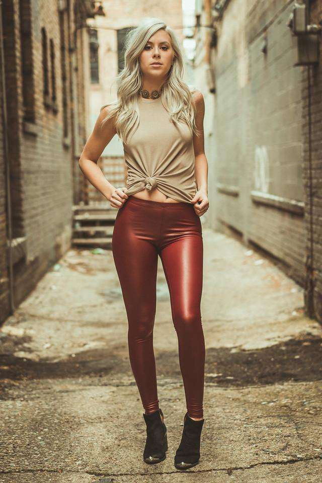 Burgundy Vegan Leather Leggings,Bottoms