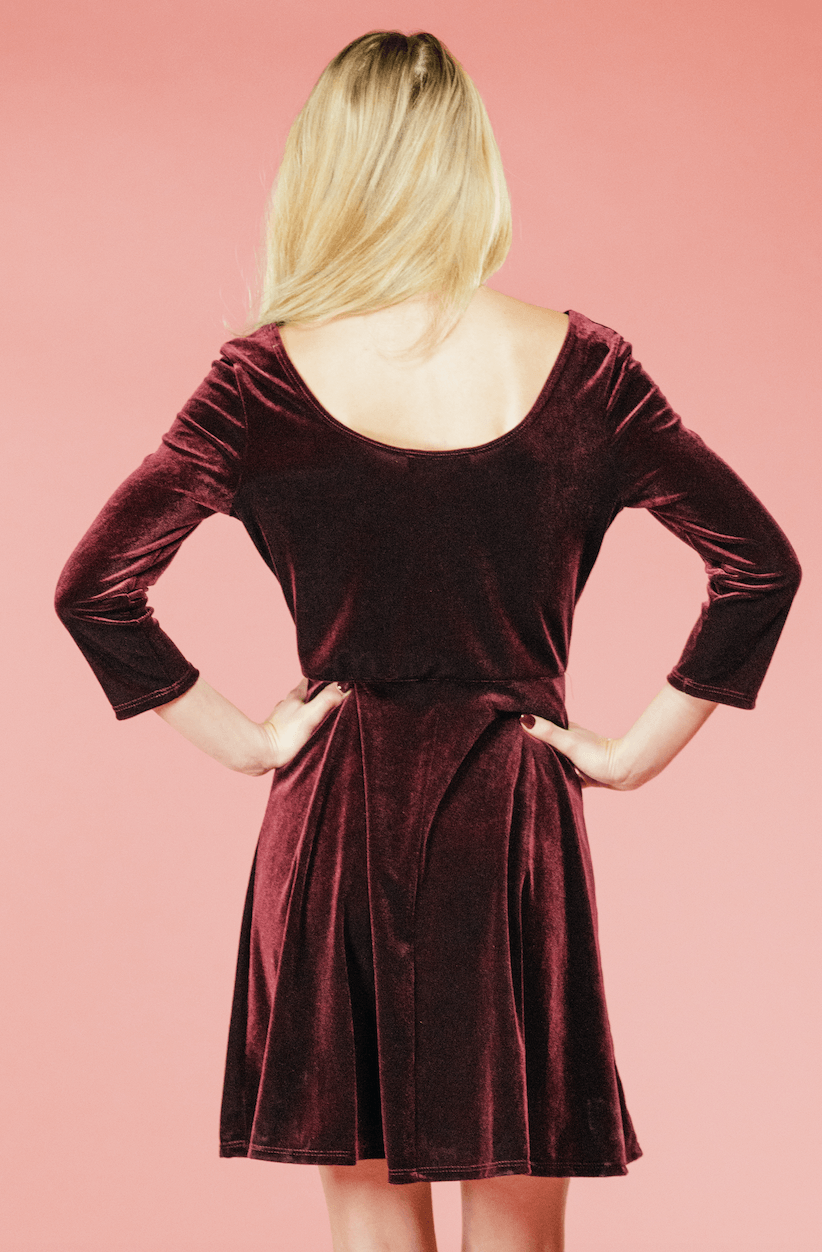 Burgundy Velvet Swing Dress,Women - Apparel - Dresses