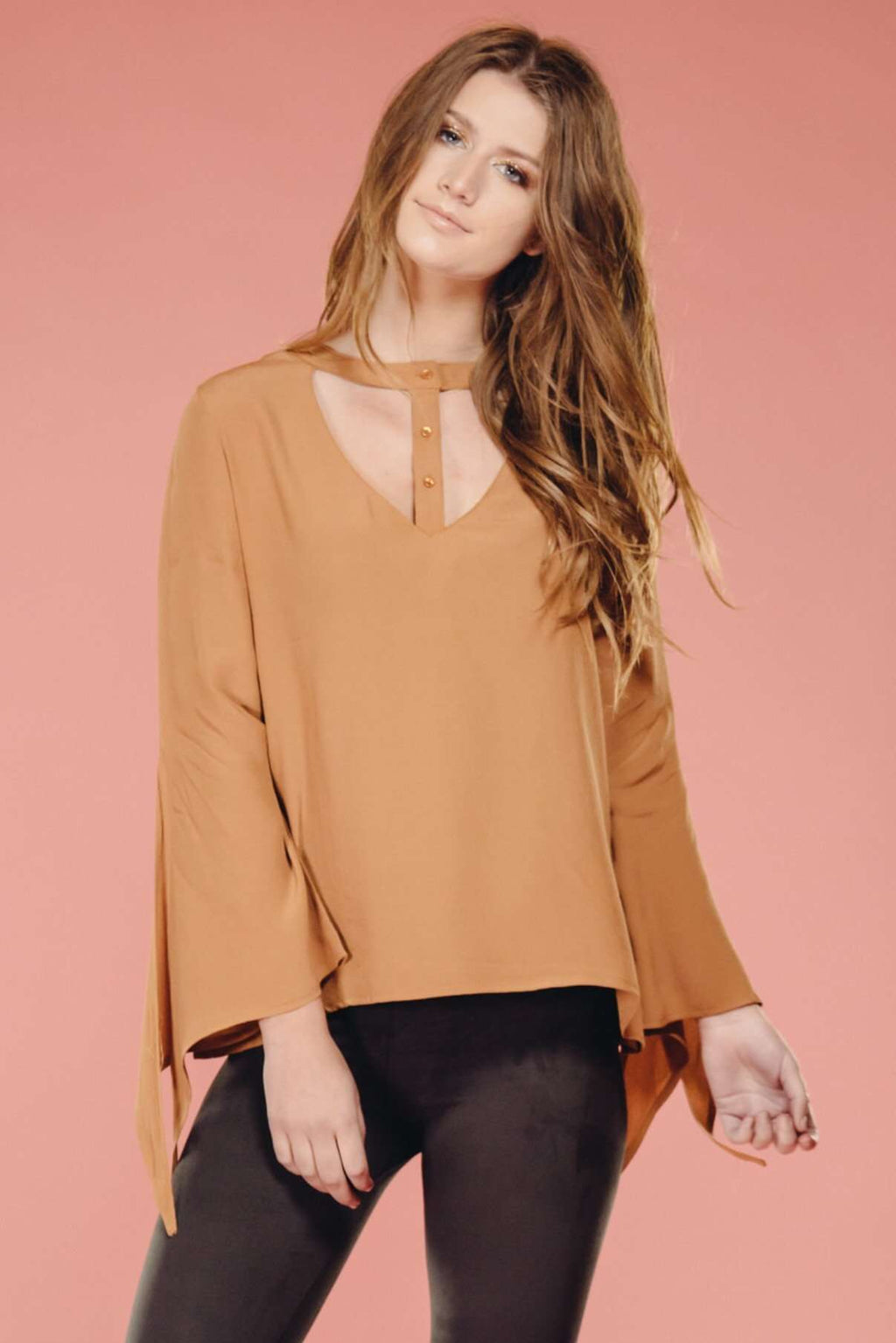 Camel Button Up Blouse,Tops