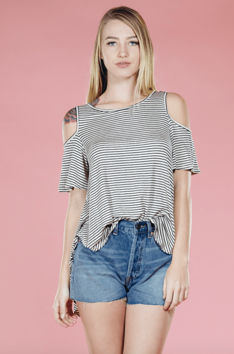 Cold Shoulder Striped Top,Tops