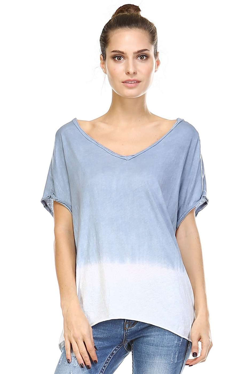 Dip Dyed V-Neck Top,Tops