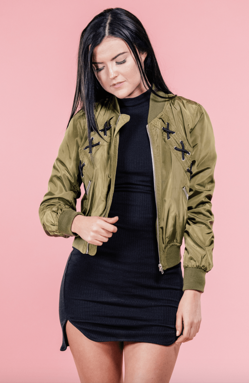 Ellie Lace Up Bomber Jacket,Outerwear