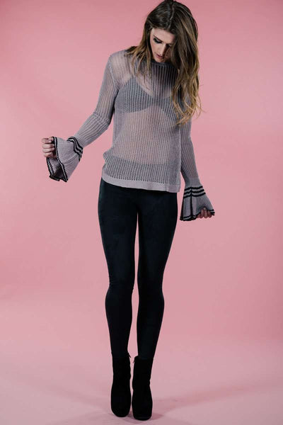 Frilled Sleeve Sweater,Sweater