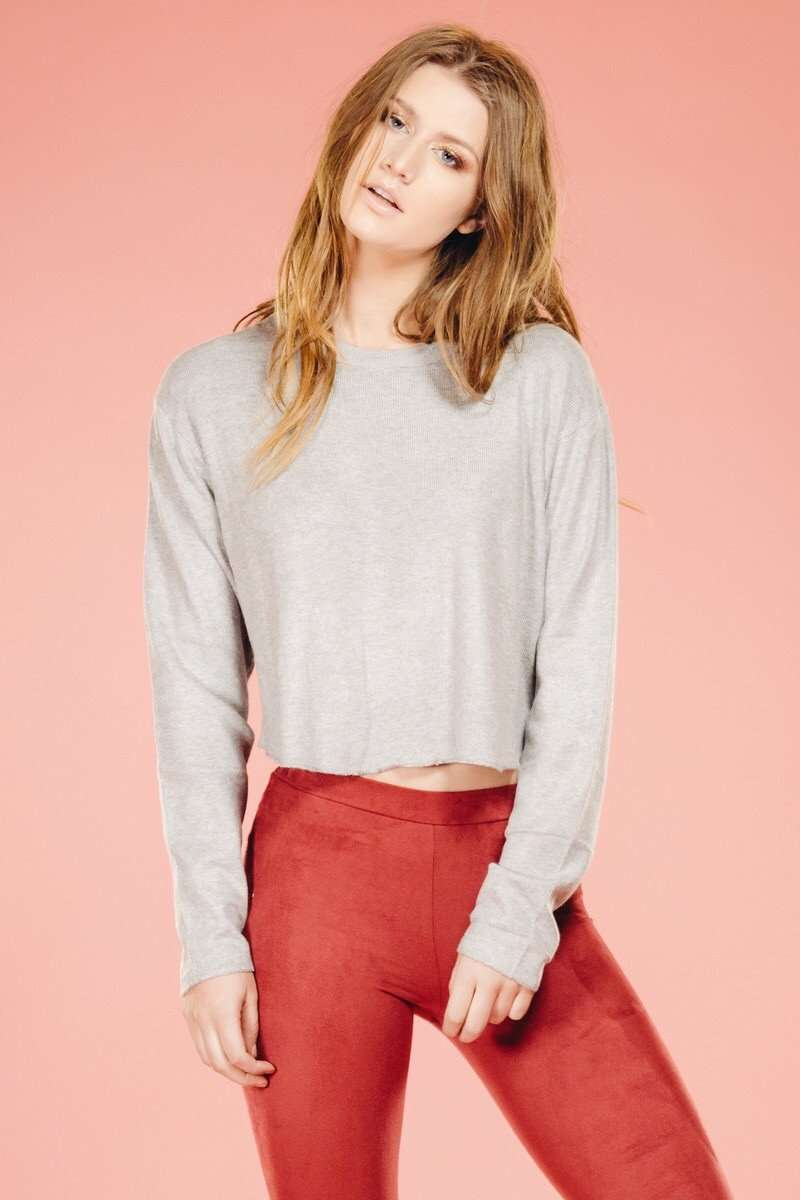 Gray Crop Sweater,Sweater