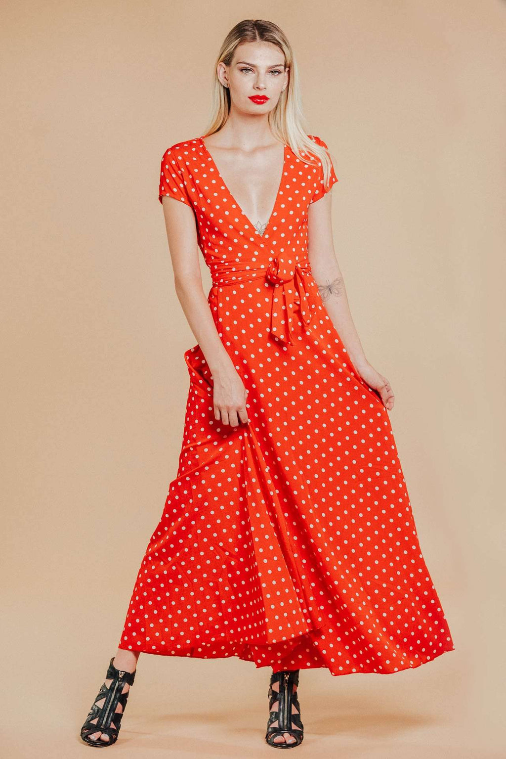 Alana Red Polka Dot Maxi Dress,Women - Apparel - Dresses