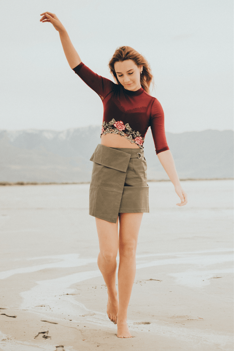 Maroon Rose Crop,Tops