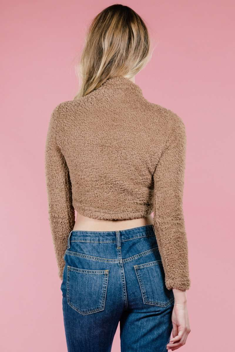 Mocha Cozy Crop,Sweater