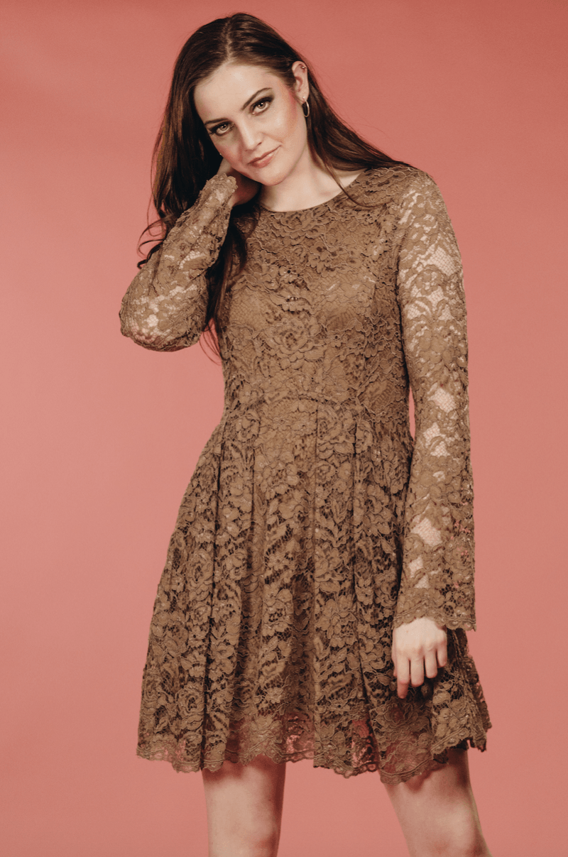 Mocha Lace Dress,Women - Apparel - Dresses