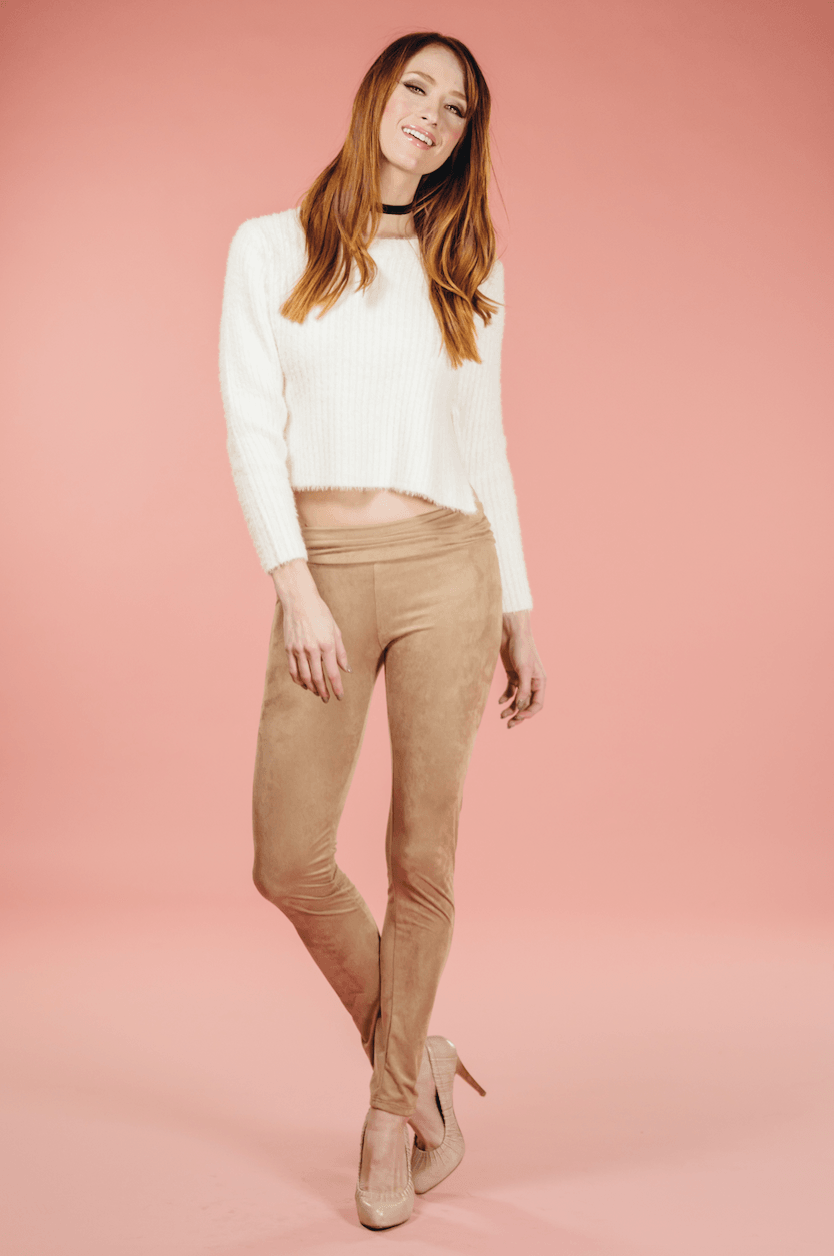 Mocha Suede Leggings,Bottoms