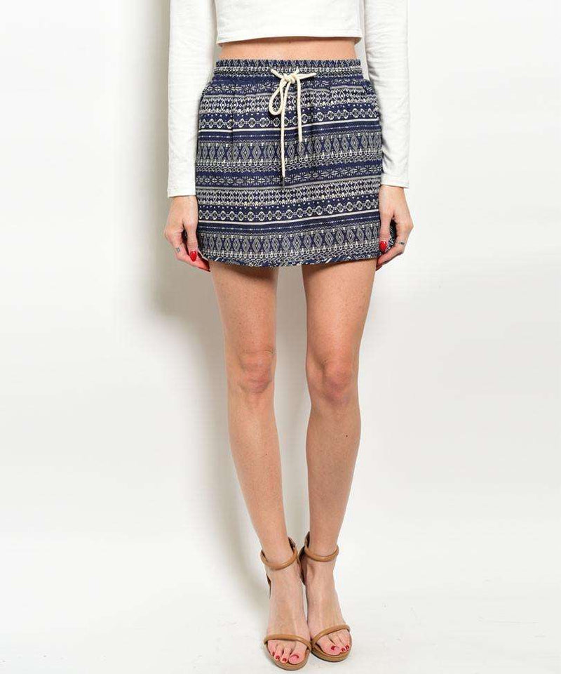 Navy Tribal Mini Skirt,Women - Apparel - Skirts - Mini