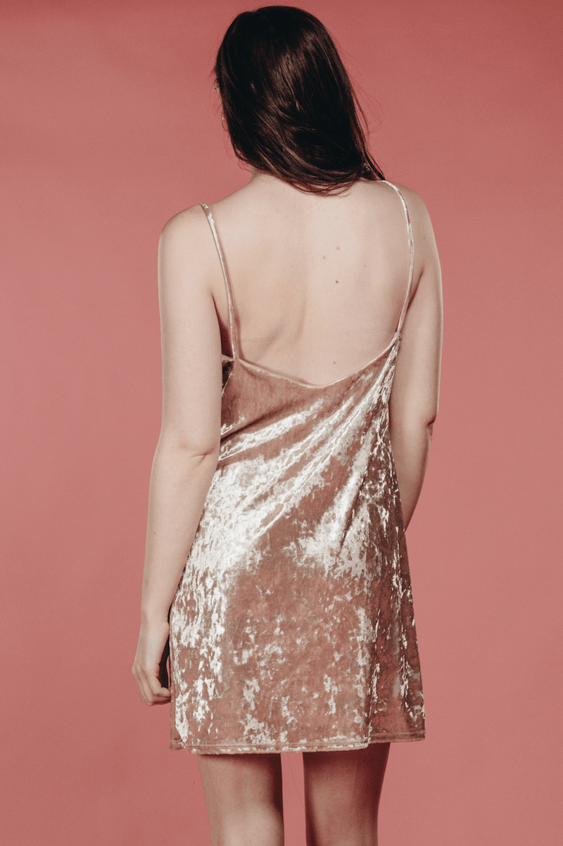 Nude Velvet Shift Dress,Women - Apparel - Dresses