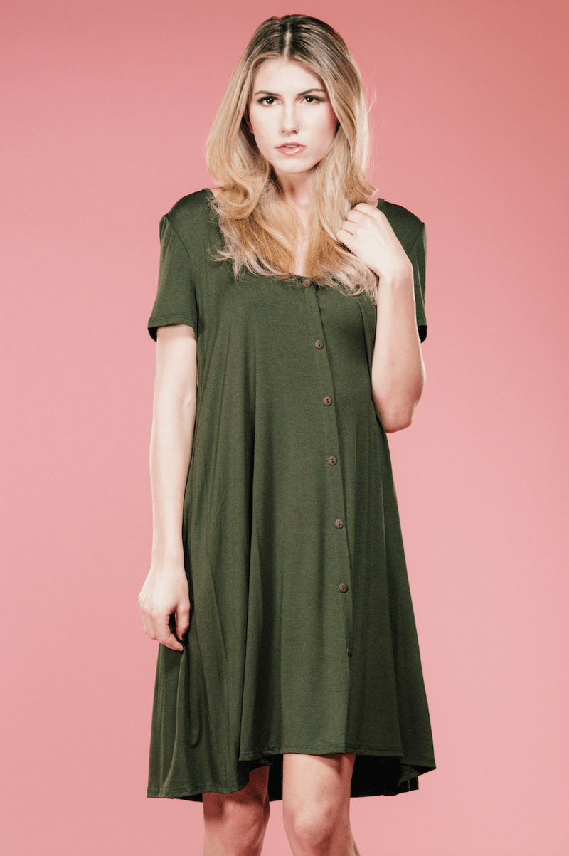 Olive Button Up Swing Dress,Women - Apparel - Dresses