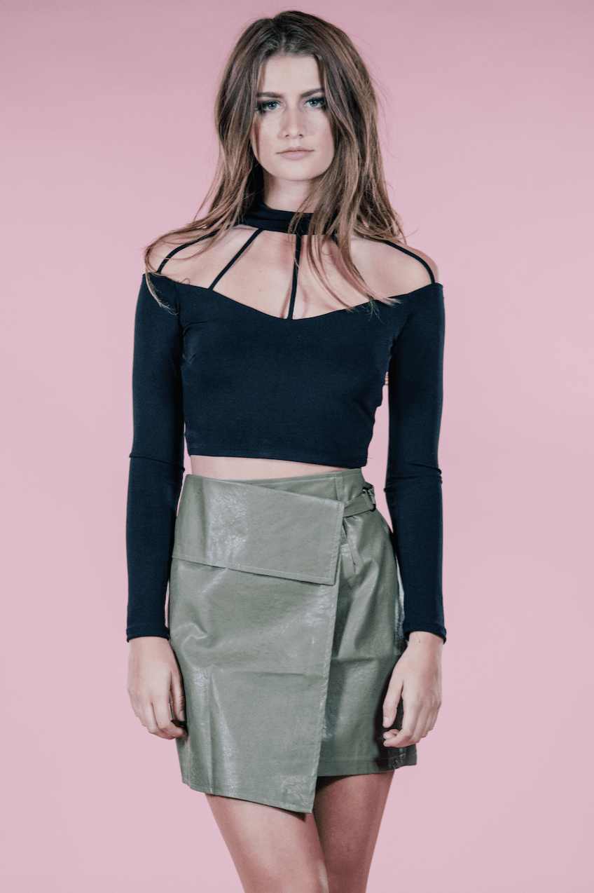 Olive Leather Mini,Women - Apparel - Skirts - Mini