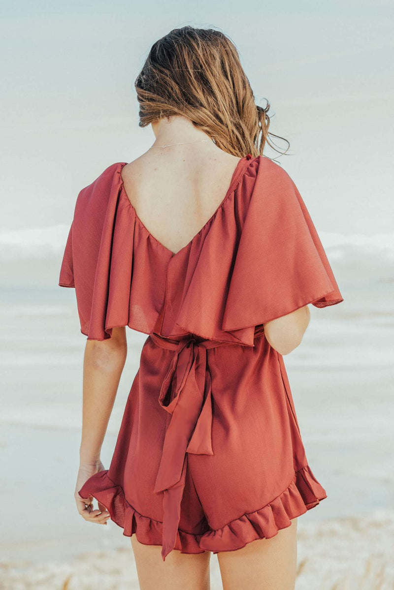 Paige Ruffle Romper,Rompers