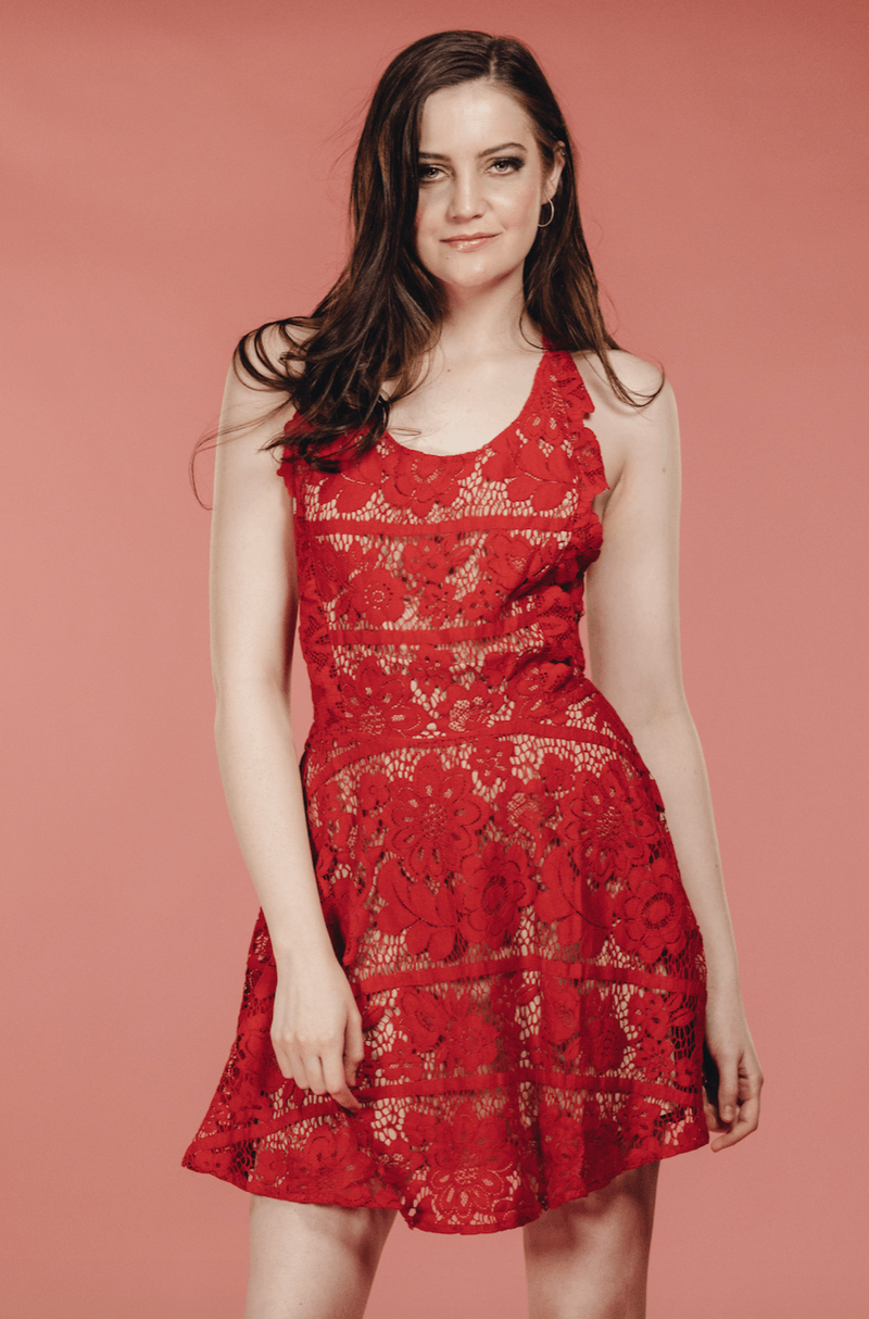 Red Floral Dress,Women - Apparel - Dresses