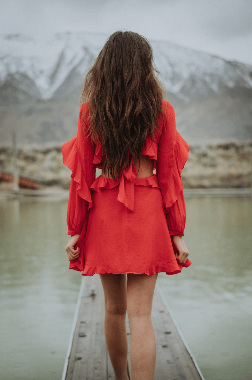 Red Ruffle Dress,Women - Apparel - Dresses