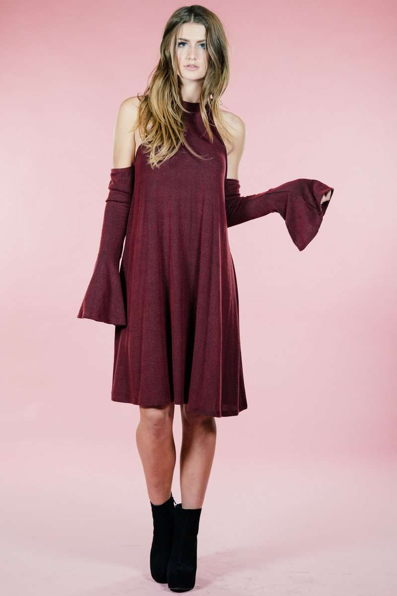Ruby Cold Shoulder Dress,Women - Apparel - Dresses