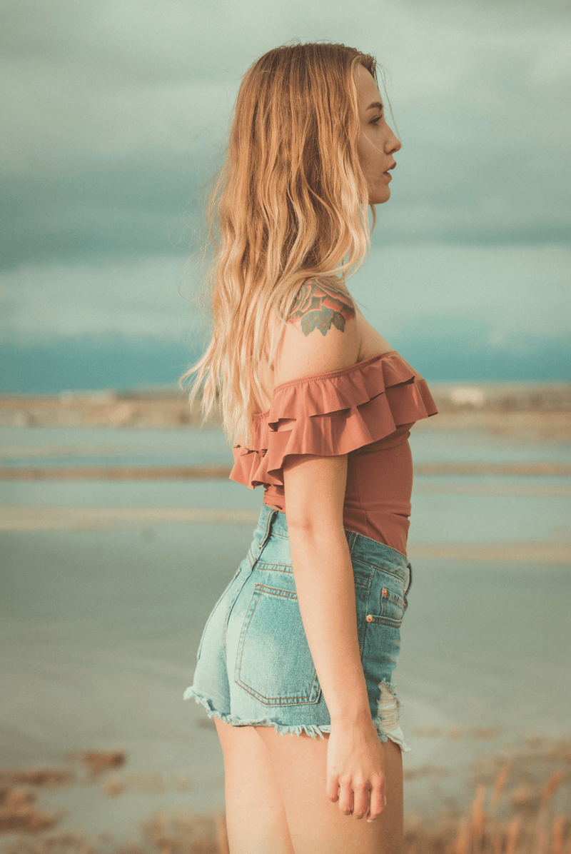 Ruffle Off The Shoulder Bodysuit,Tops