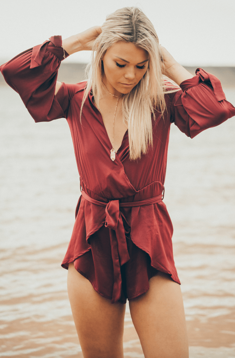 Satin Ruby Romper,Rompers