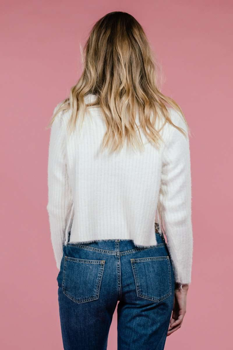 Side Slit Rib Sweater,Sweater