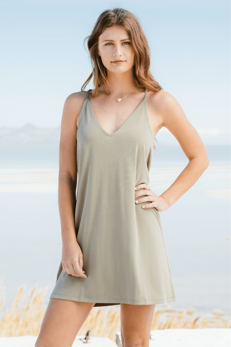 Smoke Green Basic Dress,Dresses