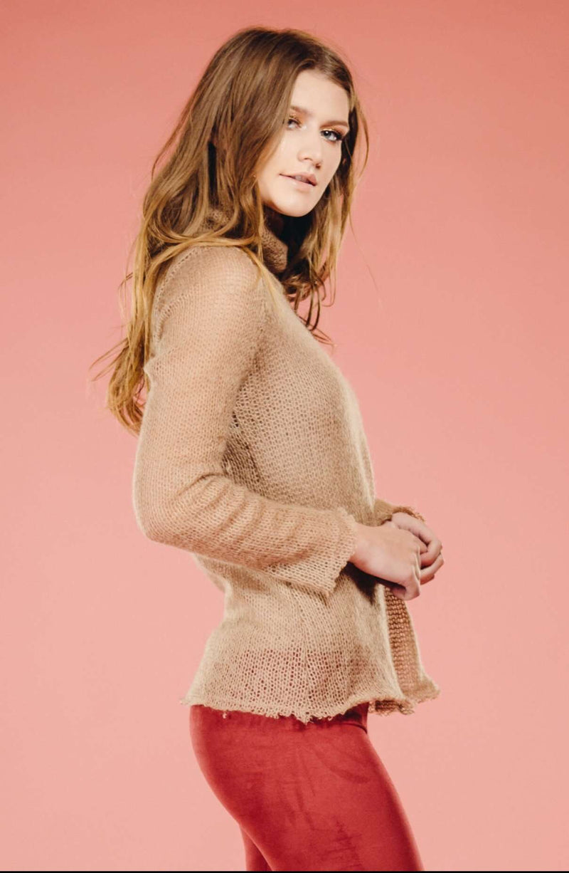 Tan Turtle Neck Top,Sweater