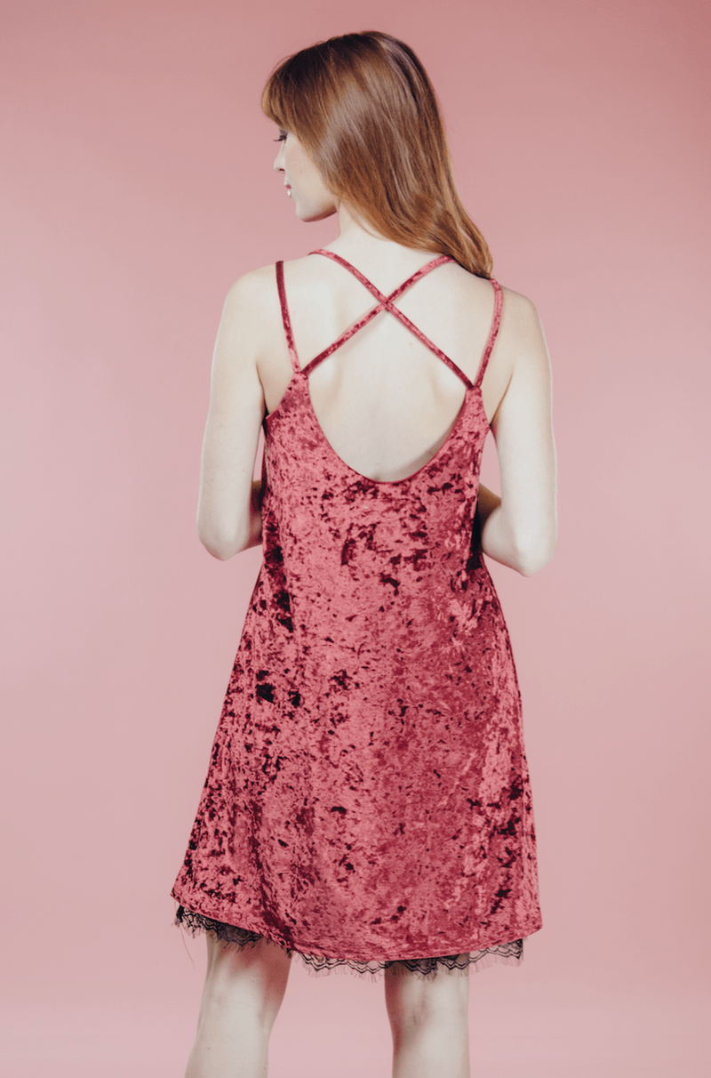 The Wine Velvet Dress,Women - Apparel - Dresses
