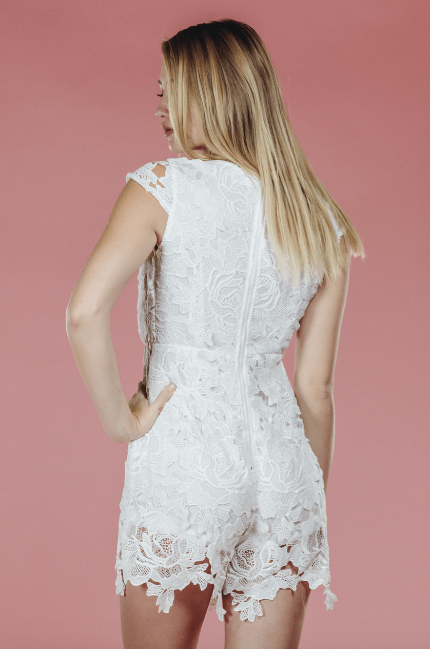 White Rose Lace Romper,Rompers