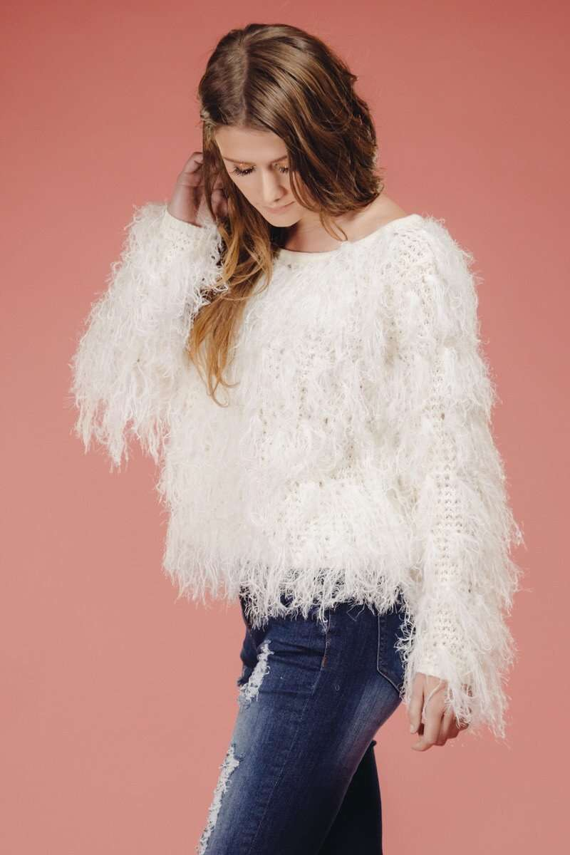 White Shag Sweater,Sweater