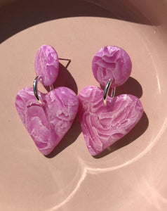 Dangles - hot pink marble hearts