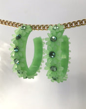 Load image into Gallery viewer, Peridot Flower Hoops