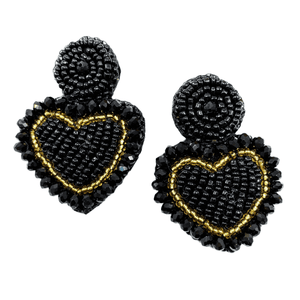 Touch my heart Studs Black