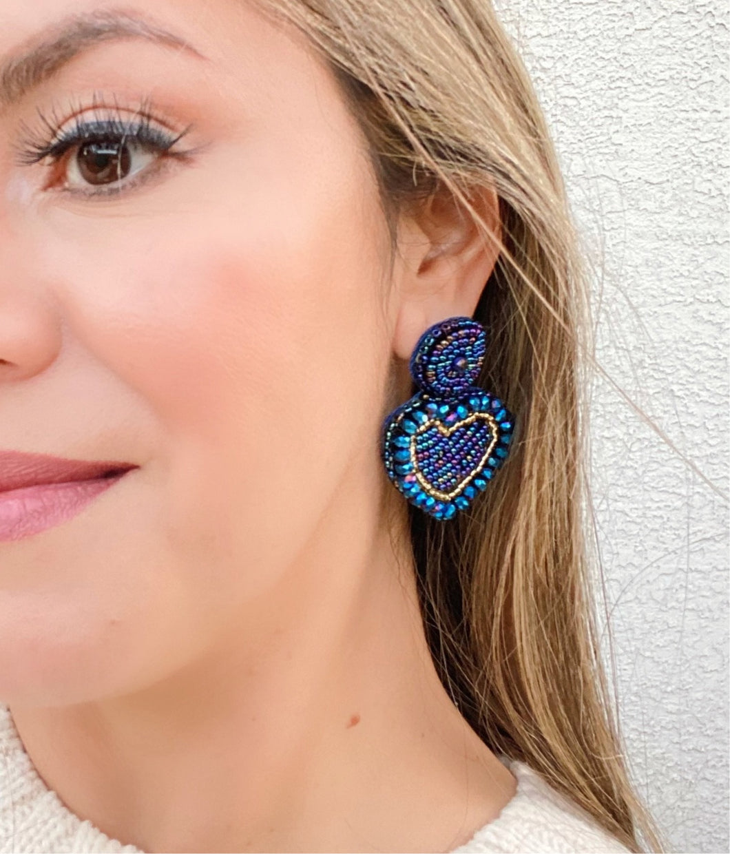 Touch my heart Studs Blue