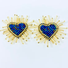 Load image into Gallery viewer, Love-Filled Heart Studs Blue