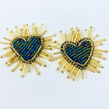 Load image into Gallery viewer, Love-Filled Heart Studs Green
