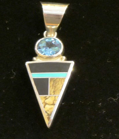 Contemporary Inlay Pendant with Blue Topaz