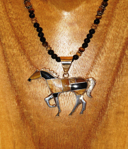 Inlaid Horse Pendant By David Rosales