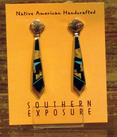 Contemporary Inlay Drop Earrings