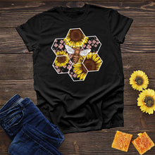 Load image into Gallery viewer, Bee Hive Flower Bee colored Tee
