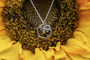 Bee Charm Hexagon Necklace
