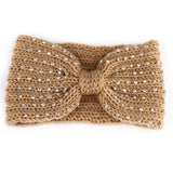Bandeau laine tricot strass