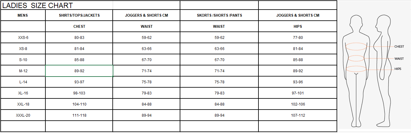 Bench Womens Size Guide