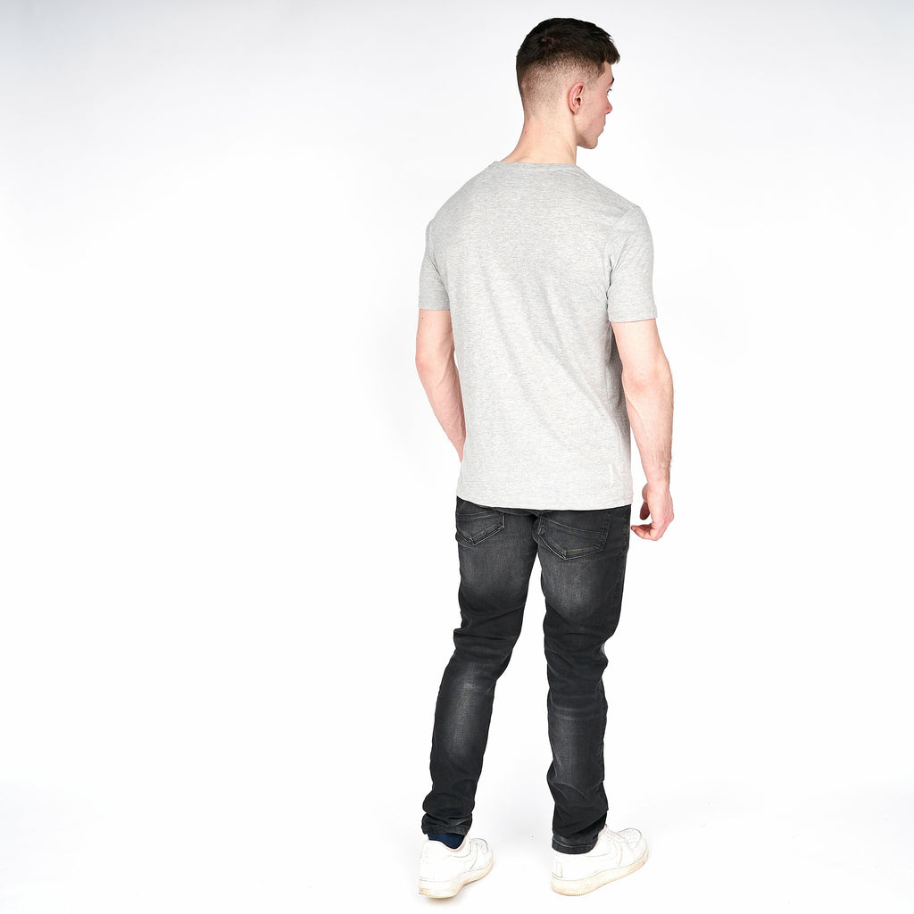 Mens Border T-Shirt Grey Marl