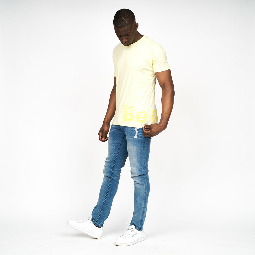 Mens Butler T-Shirt Yellow Marl