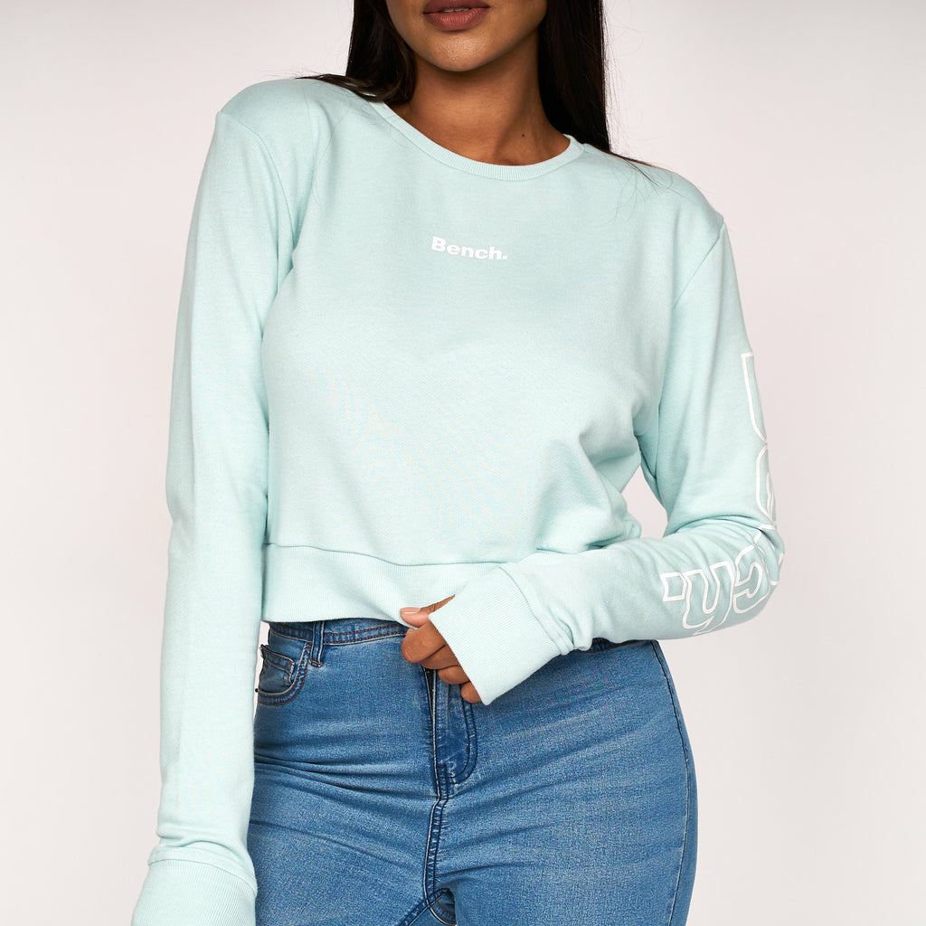 Womens Elise Crop Sweat Mint Marl